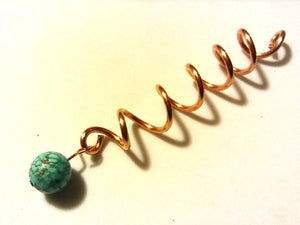 Copper Coil Dread Lock Hair Wrap Bead with Turquoise Blue Howlite Bead