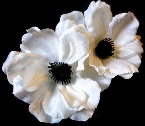 Bright White Poppy Anemone Pin Up Hair Flower Clip