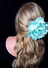 Load image into Gallery viewer, Extra Large Aqua Blue Peony Hair Flower Clip