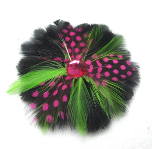 Pink and Green Feather Hair Clip and Pin