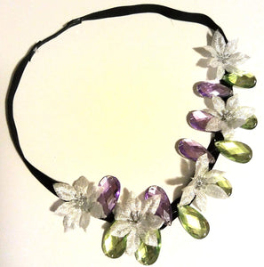 Small Silver Flowers with Purple and Green Crystal Headband