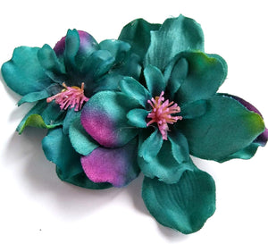 Teal Turquoise Blue Hair Flower 4 Inch Clip