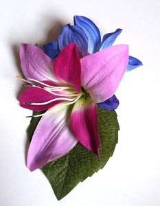 Bright Purple and Blue Hair Flower Clip