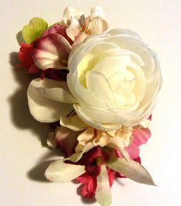 Ivory White and Pink with Glitter Hair Flower Clip
