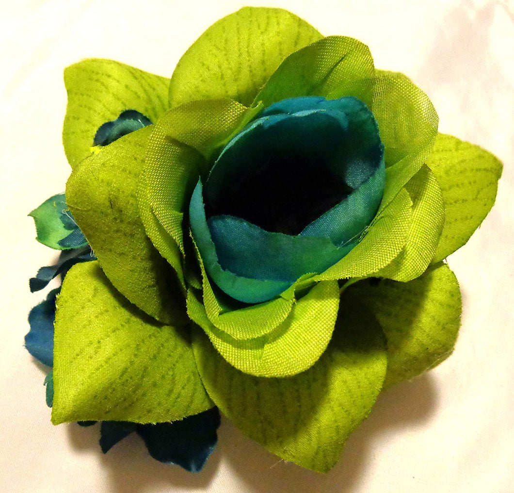 Lime Green and Turquoise Teal Blue Hair Flower Clip