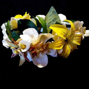 White and Yellow Tropical Hair Flower Crown Wreath Halo