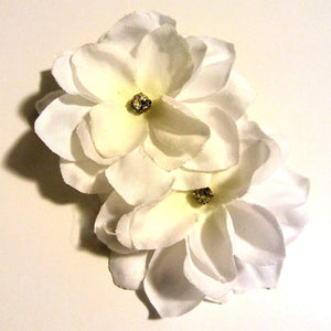Two Bright White Flowers with Crystal Hair Clip