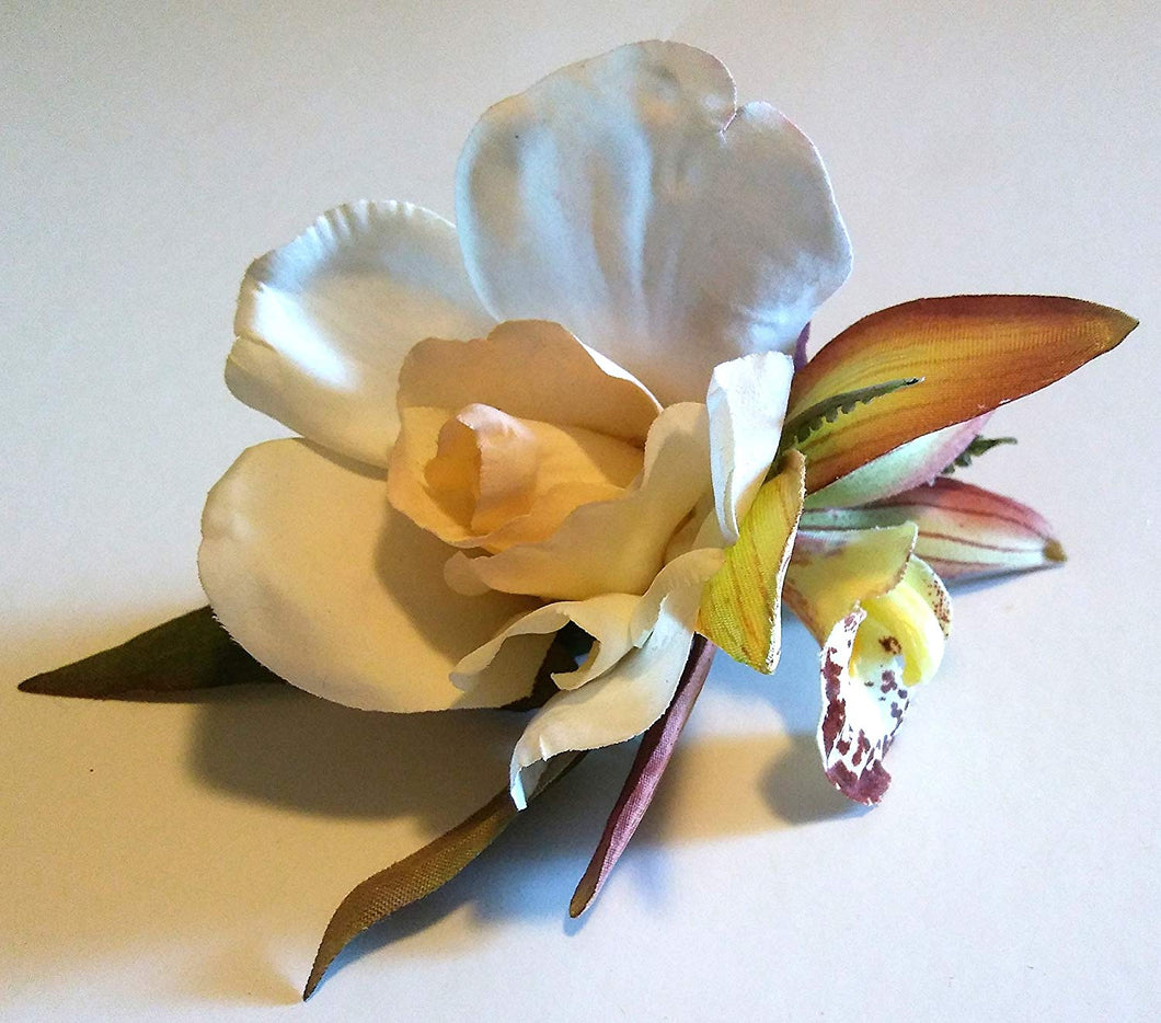 Ivory Gardenia with Orchid Hair Flower Clip