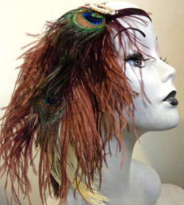 Brown Peacock Gatsby Halloween Feather Headband