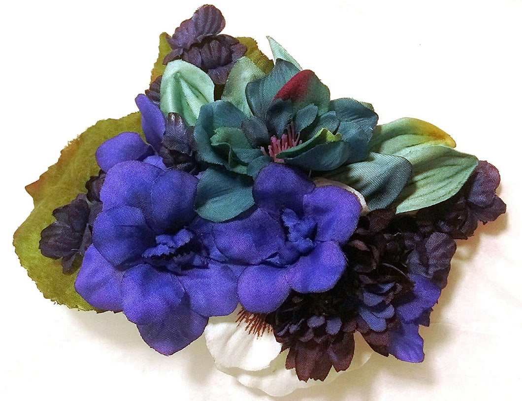 Large Blue Hair Flower Hair Clip