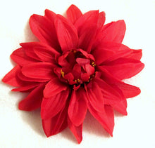Load image into Gallery viewer, Red 6 Inch Dahlia Hair Flower Clip