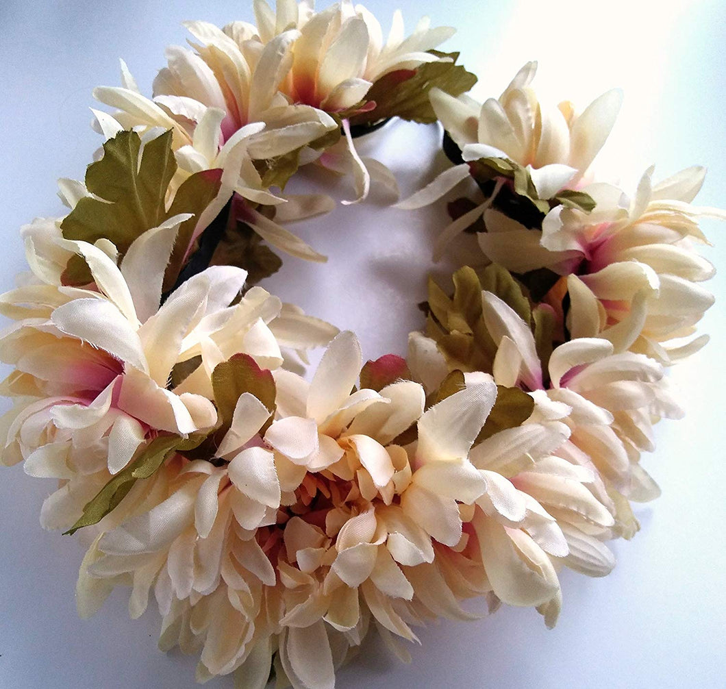 Ivory and Mauve Pink Mum Hair Flower Wreath