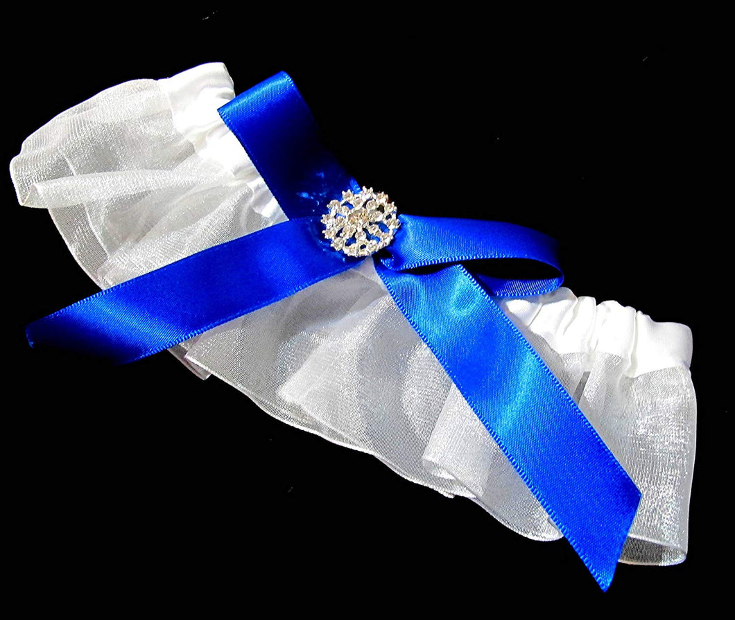 Bright White and Royal Blue Wedding Garter with Rhinestones