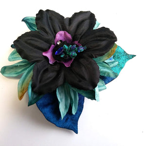 Turquoise and Blue Large Hair Flower