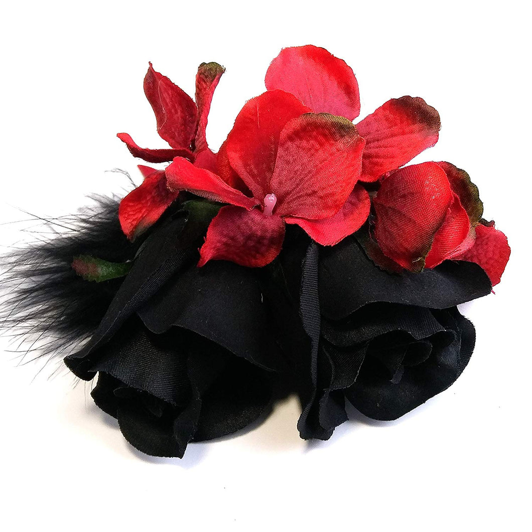 Black Rose and Red Flower Feather Hair Clip