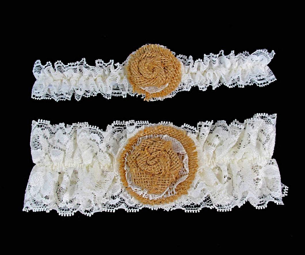 Burlap and Ivory Lace Garter Set of Two