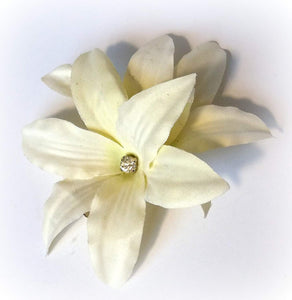 White Ivory Lily Hair Flower Clip with Rhinestone