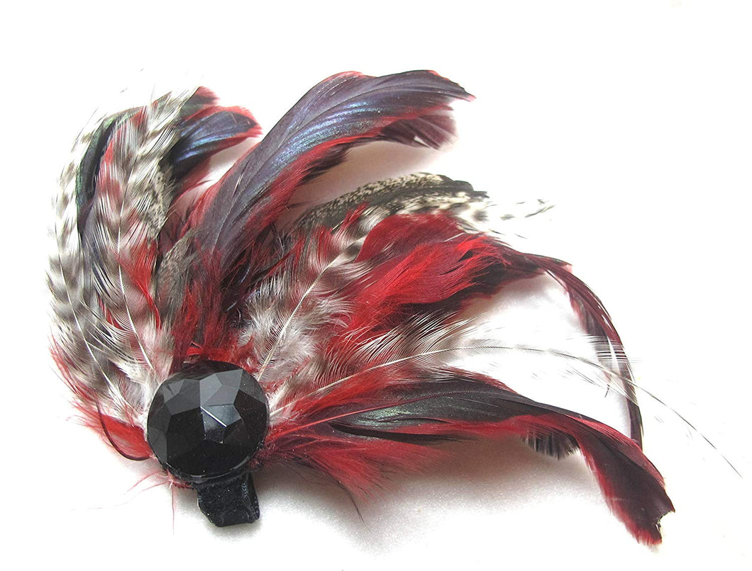 Red and Black Feather Hair Clip