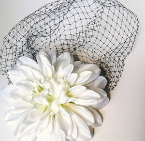 Large 7 Inch White Dahlia Flower with Birdcage Veil Comb