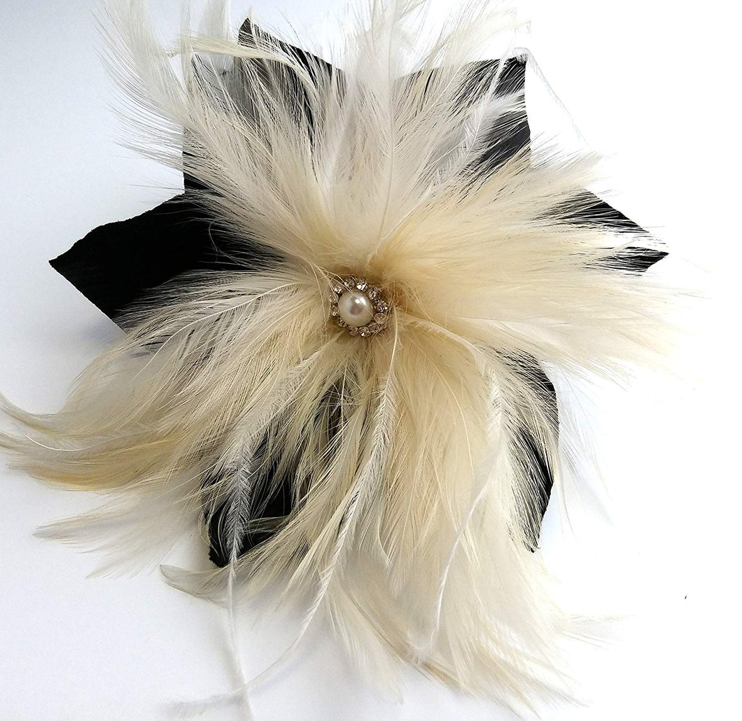 Large Black Flower with Ivory Feathers Hair Flower Clip