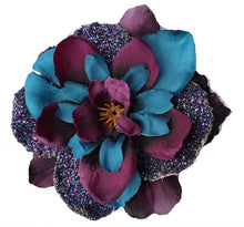 Load image into Gallery viewer, Purple Blue Glitter Delphinium Hair Flower Clip