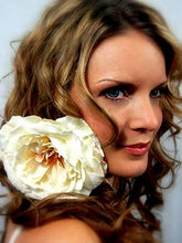 Load image into Gallery viewer, Large Ivory Neutral Open Rose Hair Flower Clip