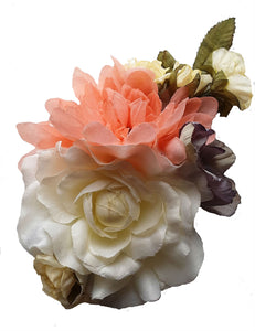 Ivory Lavender and Peach Pink Hair Flower