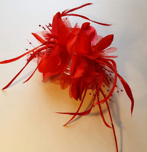 Red Feather Flower Hair Clip Claw