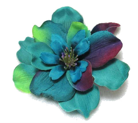 Bright Blue Delphinium Hair Flower with Purple and Lime Highlights