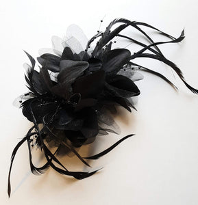Black Flower Feather Hair Clip Claw