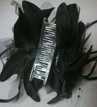Load image into Gallery viewer, Black Flower Feather Hair Clip Claw