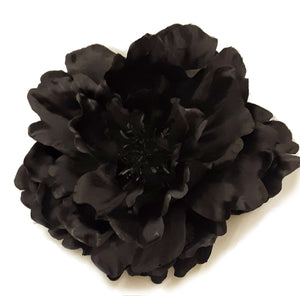 Large Black Peony Hair Flower Clip