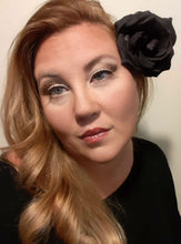 Load image into Gallery viewer, Black Rose Halloween Day of the Dead Hair Flower Clip