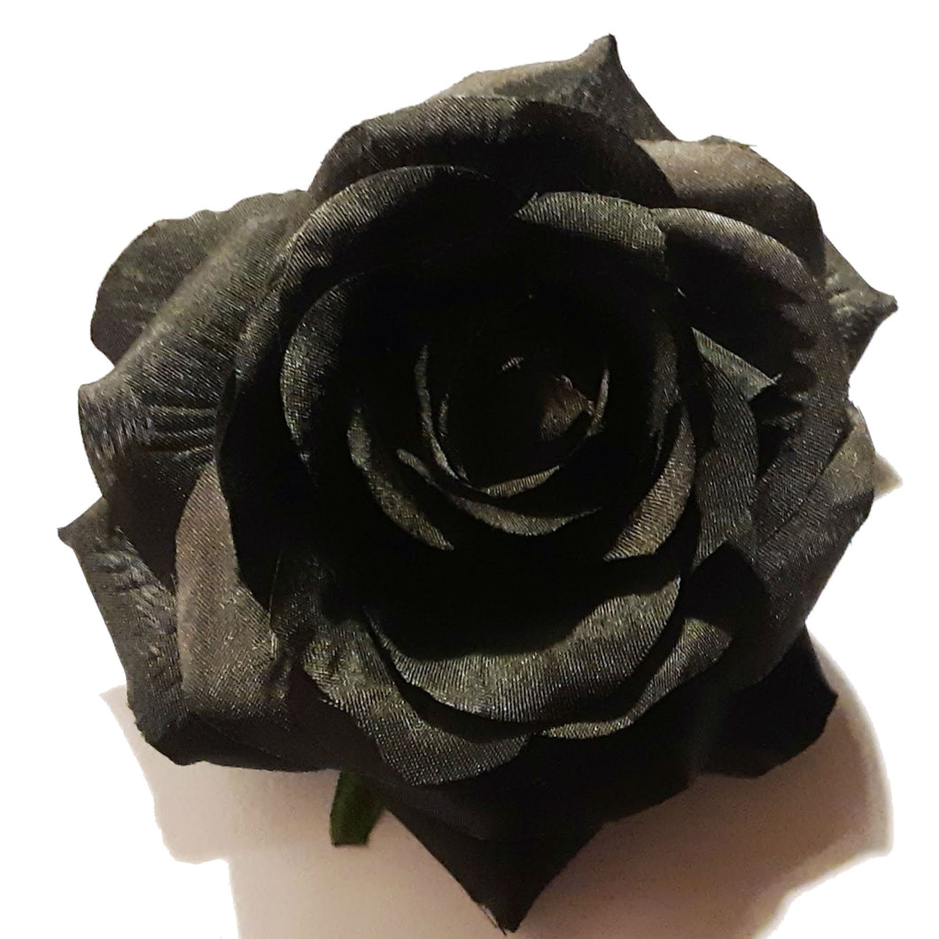 Black Rose Halloween Day of the Dead Hair Flower Clip