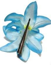 Load image into Gallery viewer, Blue Lily Flower Hair Clip