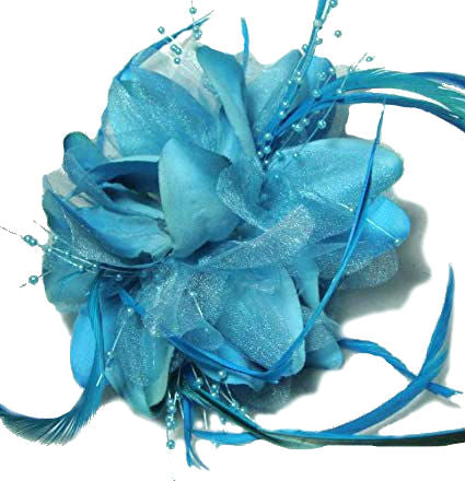 Blue Feather Flower Hair Clip Claw