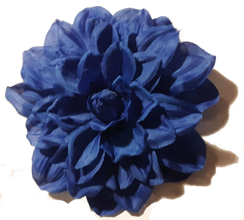 Huge Blue Dahlia Hair Flower Clip