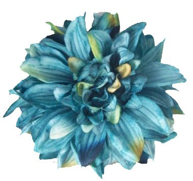 Turquoise Blue Dahlia Flower Hair Clip and Pin Back Brooch