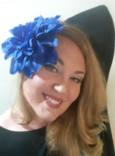 Load image into Gallery viewer, Huge Blue Dahlia Hair Flower Clip