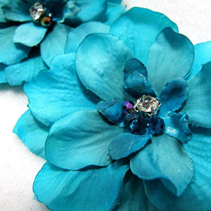 Pair of Blue Delphinium Flower Hair Clip with Crystals