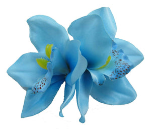 Blue Tropical Cymbidium Orchid Flower Hair Clip