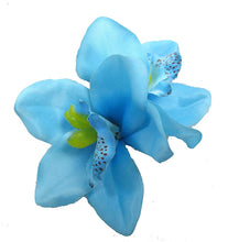 Load image into Gallery viewer, Blue Tropical Cymbidium Orchid Flower Hair Clip
