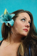 Load image into Gallery viewer, Turquoise Blue Tiger Lily Flower Hair Clip