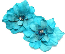 Load image into Gallery viewer, Pair of Tropical Malibu Blue Delphinium Flower Hair Clip with Crystals