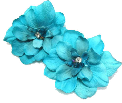 Pair of Tropical Malibu Blue Delphinium Flower Hair Clip with Crystals