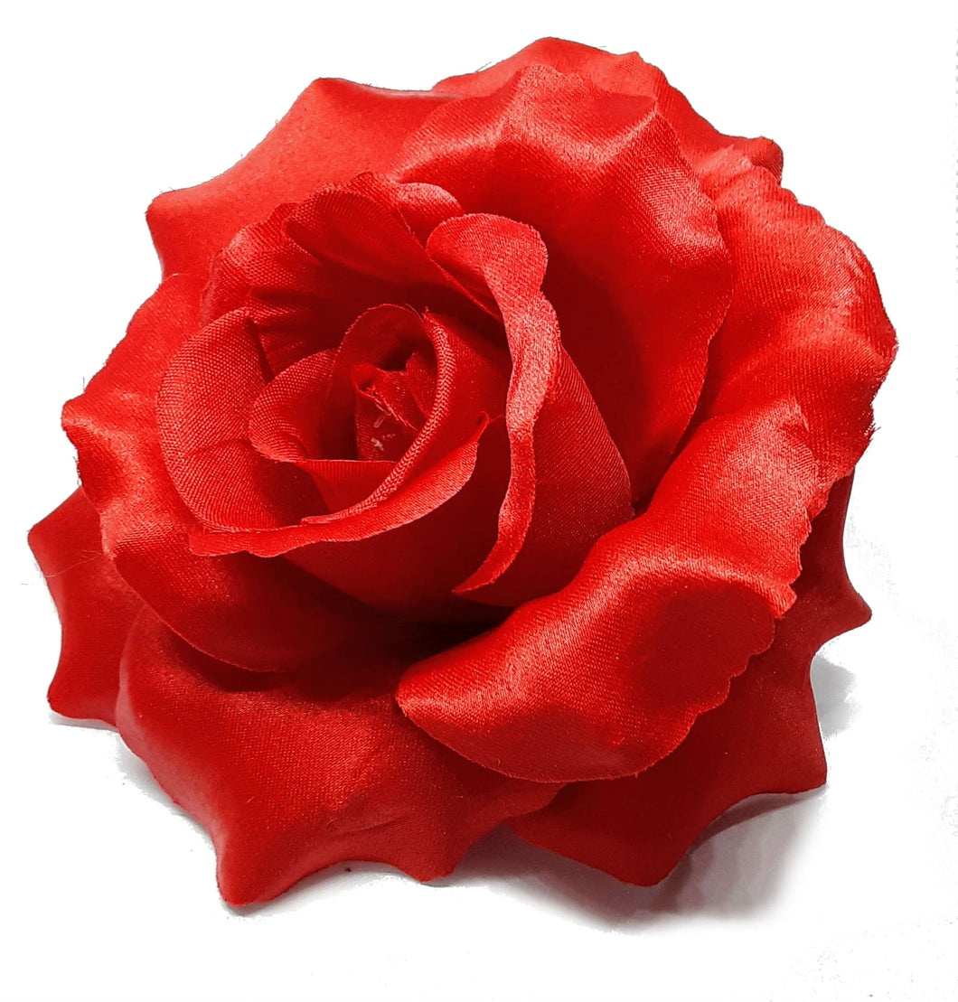Large Red Rose Hair Flower Clip