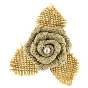LAST CHANCE - Small Burlap Rose Flower Hair Clip