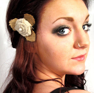 SALE - Small Burlap Rose Flower Hair Clip