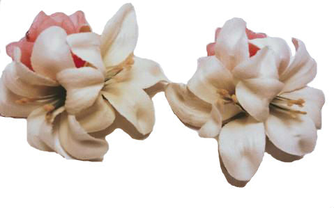 Ivory White and Coral Lily Hair Flowers Sold as a Pair