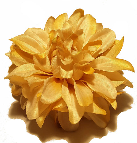 Cream Yellow Dahlia Flower Hair Clip and Pin Back Brooch